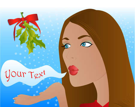 Woman blowing a kiss at a Christmas mistletoe Vector
