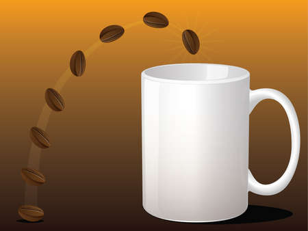 Coffee Bean Jumping into a Coffee Mug