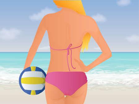 pelota de voley: Mujer de Voleibol de Playa Vectores