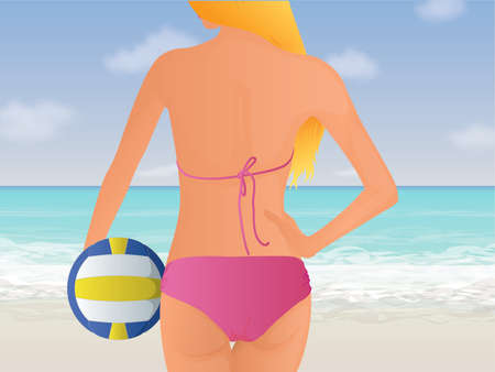Womens Beach Volleyball Vector