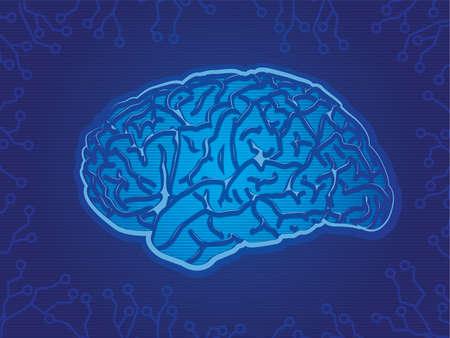 Blue Technology Brain Stock Vector - 16400972