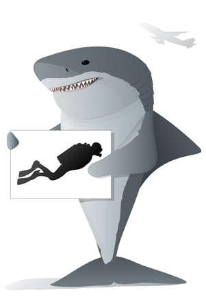 deep sea diver: Shark holding a sign Illustration