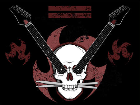 rock n: Rock N Roll Skull Illustration