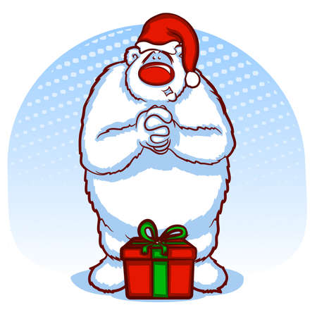 hoping: Christmas Polar Bear with Unopened Gift Illustration