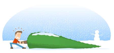dragging: Giant Christmas Tree Cartoon