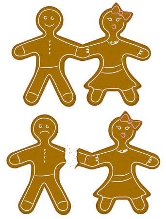 Gingerbread Couple Break Up Vector
