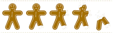 eaten: Gingerbread Man Being Eaten Illustration