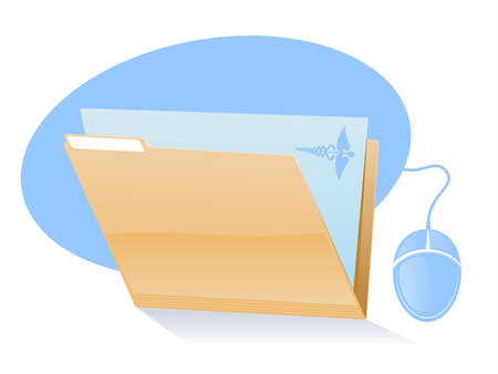 filing documents: Electronic Health RecordsMedical File Icon Illustration