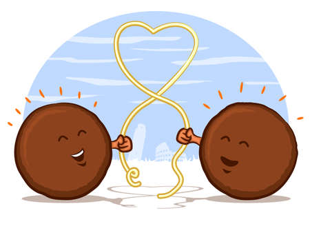 Meatballs with Spaghetti Heart Vector