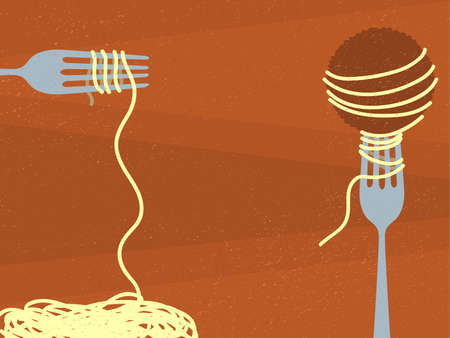 spaghetti: Spaghetti and Meatball Illustration