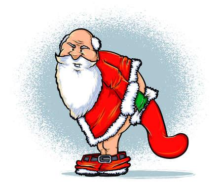 Kerstman en de Ongehoorzame Lijst Cartoon Vector Illustratie