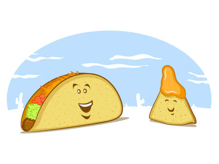 tomato cartoon: Mexican Food Cartoon with a Taco and a Nacho Illustration