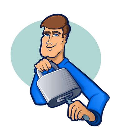 Illustration of a Locksmith Picking a Lock Illustration