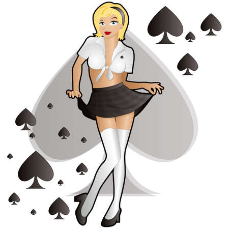 sexy skirt: School Girl Spades Illustration