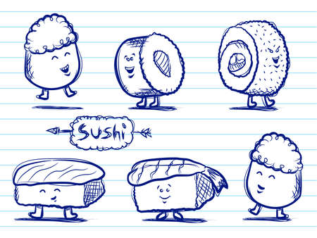 with sets of elements: Sushi Doodles