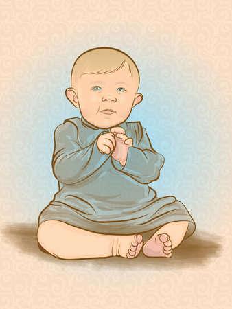 Retro Baby Illustration Ilustração