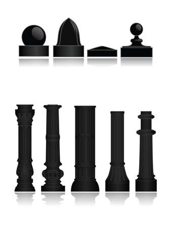 architectural styles: Collection of various decorative post bases Illustration
