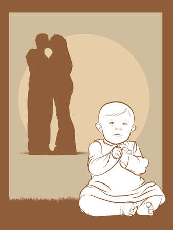 Illustration of a New Baby and a Happy Couple Stock Vector - 17470540