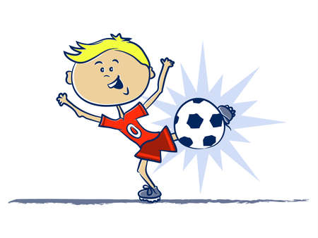 A Boy Kicking a Soccer Ball Cartoon Illustration