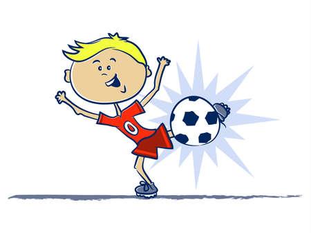 A Boy Kicking a Soccer Ball Cartoon Vettoriali