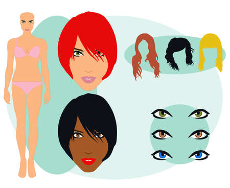 eyes hazel: Female Face and Body Parts Set Illustration