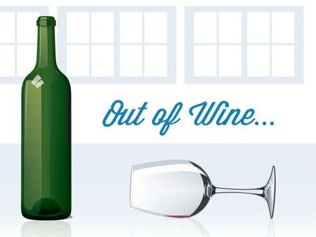 burgundy background: Out of Wine Illustration