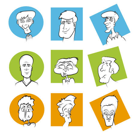 Set of Various Cartoon Character Faces Face Image Series Vector