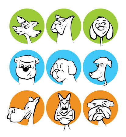 Dog Faces Collection/Mascots in Circles Vector