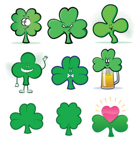 Shamrock Clover Cartoon Character Icons Vector
