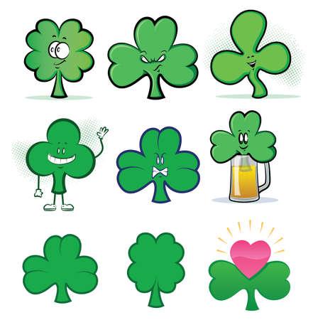 Shamrock Clover Cartoon Character Icons
