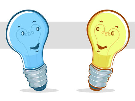 energysaving: Blue and Yellow Cartoon Light Bulbs Illustration