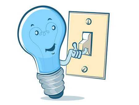 Light Bulb Character Flipping a Switch Vector