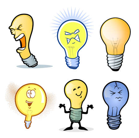 object with face: Lightbulb ManCollection of Various Light Bulb Characters Illustration
