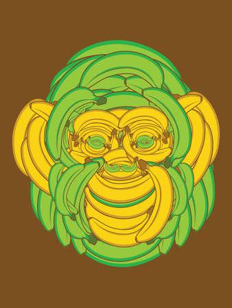 Monkey Face made up of Bananas Vector