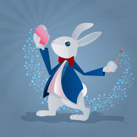 Easter Bunny Coloring an Easter Egg Stock Vector - 18389634