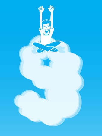 On Cloud Nine/ Happy Man sitting atop a cloud shaped like the number 9 일러스트