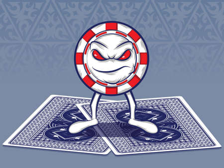 Poker Chip Character Standing on Two Poker Cards Vector