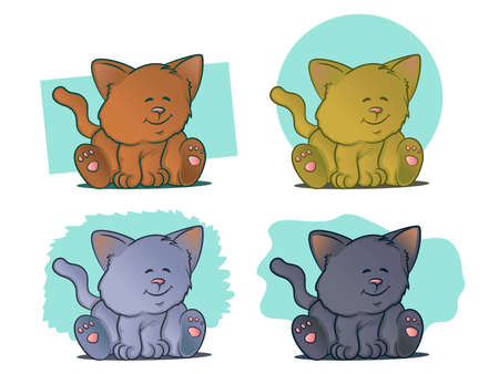 Cute Cat SetColor variations of kittens sitting and smiling Vector