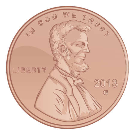 cent: United States Lincoln Penny Illustration Illustration