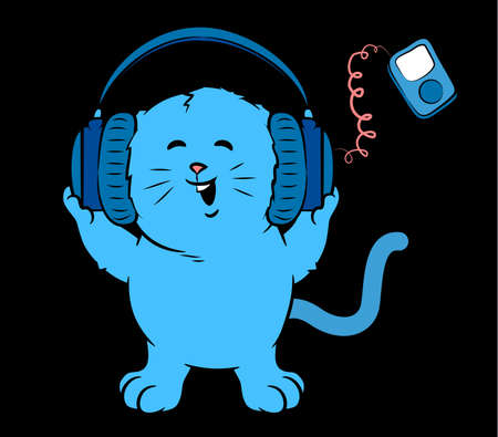 Cat Listening to Music and wearing Headphones Çizim