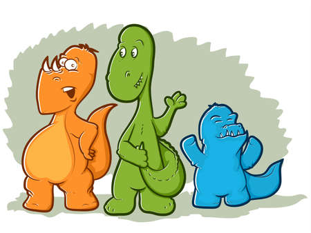 Cute illustration of three colorful dinosaur monsters 일러스트