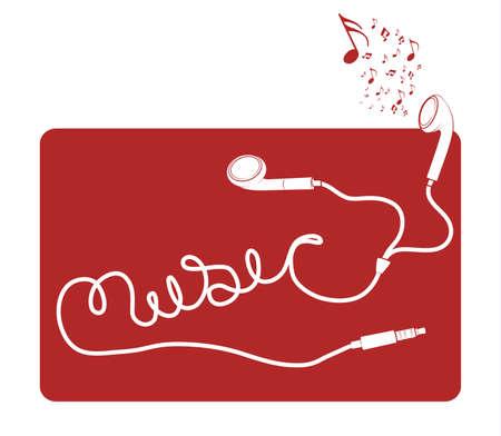 빨간색 배경에 음악 단어 맞춤법 검사 흰색 이어 버드 헤드폰