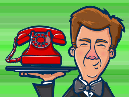old phone: Illustration of a man holding an old red phone on a silver platter