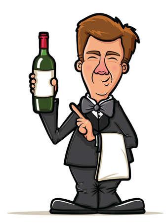 sommelier: Sommelier La presentaci�n de una botella de vino Vectores