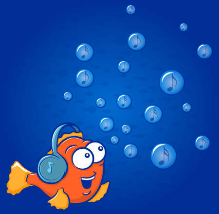 goldfish: Cute gold fish cartoon wearing headphones with musical notes