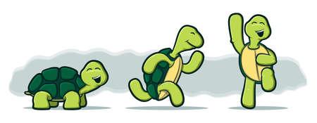 세 거북이의 그림은 실행과 미소로 점프 일러스트