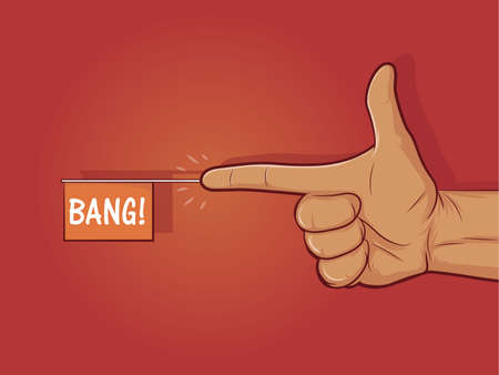 fusils: Illustration d'un geste de la main des armes � feu avec