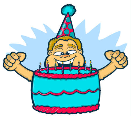 peering: Illustration of an excited boy blowing out the candles on his birthday cake