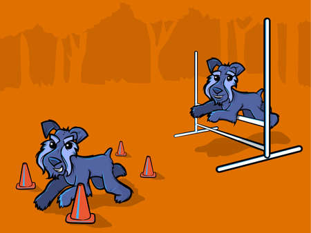 show dog: Illustration of dogs running through cones and jumping over bars Illustration