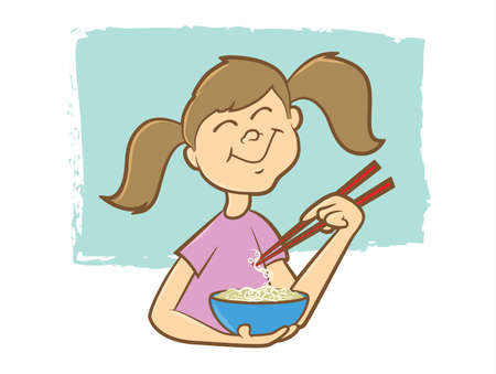 lo mein: Cute girl eating noodles with chop sticks